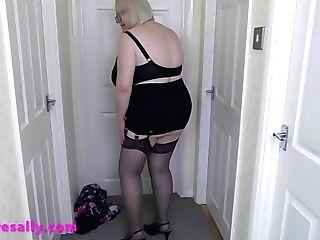 Antique Garter Belt & Stockings Under Her Flowered Miniskirt