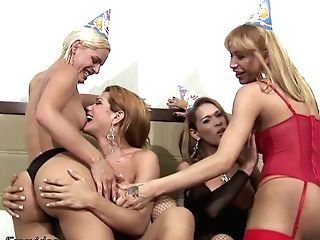 Four Trannies Get Naked And Demonstrate Off Their Yummy Shafts